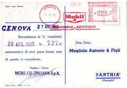 1960 MOBIL OIL -GENOVA METER STAMP EMA FREISTEMPEL AFFRANCATURA MECCANICA - Pétrole