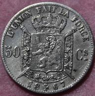 BELGIE LEOPOLD II  50 CENT   1867   TOP KWALITEIT    2 SCANS - 1865-1909: Leopold II
