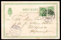 DENMARK 1888 Arms In Oval  Postcard 5 Øre Used.  Michel P28 - Enteros Postales