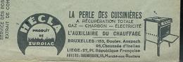 Belgique: Env. Des CCP - Pubs: La Perle Des Cuisinières HECLA) Obl. 1936 - Aspirateurs - Tabacs - Cafés - Papiers Peints - Elettricità