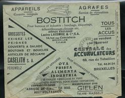 Belgique: Env. Des CCP - Pubs: Tous Les Accus Se Vendent; Se Réparent -  Agrafeuses -  Obl. 31/12/1935 - Electricité