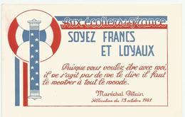 CP Vichy Maréchal  Pétain Propagande Pour Enfants écoliers De France 1941 Francisque - Guerre 1939-45