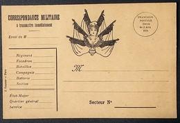 Carte De Franchise Militaire Illustrée République Marianne 6 Drapeaux - Postmark Collection (Covers)