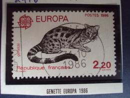 """1986  - Timbre Oblitéré N°   2416    """"  Genette Europa 86- 2.20    """"        0.40 - France"""