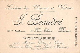 """DINAN  - Carte De Visite Pub """" F .Beaudré """" Location De Chevaux Et Voitures - Dinan"""