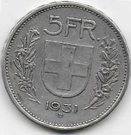 SUISSE - 5 Fr  1931 - Suiza