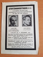 Faire Part Gabriel Péri Et Lucien Sampaix Fusillés Le 15/12/1941 - 1939-45