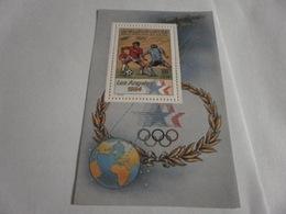 Miniature Sheet Perf 1984 Los Angeles Olympics Soccer - Libya