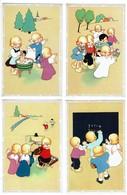 4 Cartes - Petits Anges - Jeux D'enfants - Illustrateur Naïf - Coloprint Special 1568/1573/1575/1576 - 2 Scans - Illustrators & Photographers