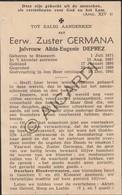 Doodsprentje Zuster/Soeur Germana/Alida Eugenie Deprez °1871 Stasegem †1945  (B210) - Obituary Notices