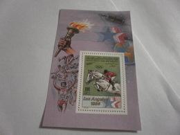 Miniature Sheet Perf 1984 Los Angeles Olympics Equestrian - Libya