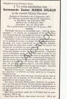 Doodsprentje Zuster/Soeur Maria-Eulalie / Marie Decoster °1877 Harelbeke †1949 (B217) - Obituary Notices