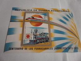 Miniature Sheet Perf 100 Years Of Japanese Trains - Equatorial Guinea