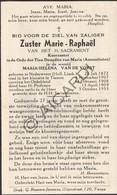 Doodsprentje Zuster/Soeur Marie-Raphaël / Maria-Helena Van De Vorst °1872 Nederweert †1953 Tienen (B205) - Obituary Notices