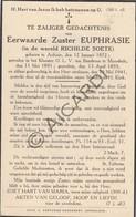 Doodsprentje Zuster/Soeur Euphrasie / Richilde Soete °1872 Ardooie †1941 Moorslede (B199) - Obituary Notices