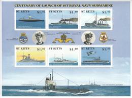 2001 St. Kitts Royal Navy Submarine Ships Military Complete Set Of 2 Sheets MNH - St.Kitts-et-Nevis ( 1983-...)