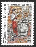 Saint Pierre Et Miquelon - N° YT  612, Neuf **, MNH -  Tonnelier, Outil, Vin, Viticulture, Tool, Wine, Vineyard - St.Pierre & Miquelon