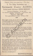 Doodsprentje Zuster/Soeur Agnes / Odile Benoit  °1872 Harelbeke †1940 Harelbeke (B183) - Obituary Notices