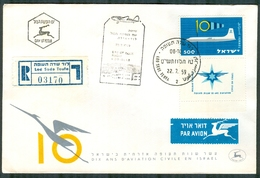 """Israel LETTER FLIGHT EVENTS - 1959 SPECIAL DAY OF ISSUE FLIGHT - """"Dix Ans D'aviation Civile En Israel"""", REGISTERED - FDC"""