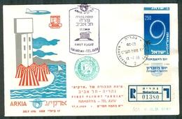 Israel LETTER FLIGHT EVENTS - 1959 FIRST ARKIA  FLIGHT NAHARIYA - TEL AVIV, REGISTERED - FDC