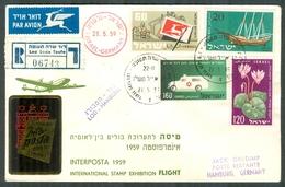 "Israel LETTER FLIGHT EVENTS - 1959 SPECIAL FLIGHT International Stamp Exhition ""Interposta 1959"", REGISTERED - FDC"