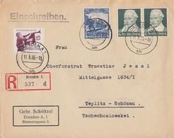 DR R-Brief Mif Minr.2x 573,582,585 Dresden A1 17.8.35 - Briefe U. Dokumente