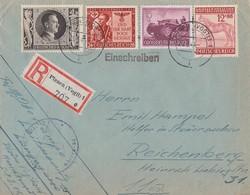 DR R-Brief Mif Minr.844,858,863,880 Plauen 25.5.44 - Briefe U. Dokumente