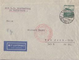 DR Luftpost-Brief EF Minr.607 Dresden 5.5.36 Mit L.Z. Hindenburg Zu Befördern Gel. Nach New York - Briefe U. Dokumente