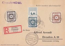 SBZ Orts-R-Karte Mif Minr.42A,45A,48A Dresden-Loschwitz 3.10.45 - Sowjetische Zone (SBZ)