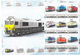 Ukraine 2016, Railways, Locomotives, Sheetlet Of 9v - Ukraine