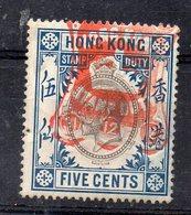 HONG-KONG - GEORGES V - GEORGES Vth - 5 Cents - STAMP DUTY - Oblitéré - Stamped - 1912 - - Otros