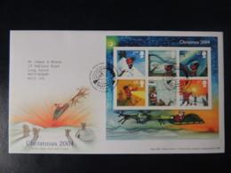 GB 2004 FDC - Miniature Sheet Christmas Santa Claus Children Sleigh Reindeer Umbrella Eskimos - FDC