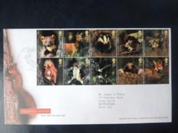GB 2004 FDC - Woodland Animals Pine Marten Deer Badger Mouse Wild Cat Squirrel Stoat Bat Mole Fox - FDC