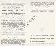 Doodsprentje Frans Antoon Cuveliers °1895 Werchter-Wakkerzeel †1955 Wakkerzeel Echtg. Cornelia Justina Mergaerts  (B174) - Obituary Notices