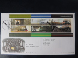 GB 2004 FDC - Miniature Sheet Classic Locomotives York Postmark Railways Trains - FDC