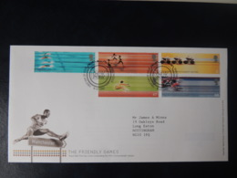 GB 2002 FDC - Commonwealth Games Manchester Postmark Sport Running Long Jump Swimming Cycling - FDC