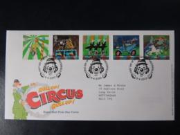 GB 2002 FDC - Circus Clowne Chesterfield Postmark Entertainments - FDC