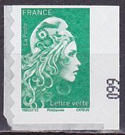 Timbre AA Neuf ** N° 1598(Yvert) France 2018 - Marianne L'Engagée Lettre Verte Adhésif - 2018-... Marianne L'Engagée