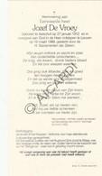 Doodsprentje Eerwaarde Heer Jozef De Vroey °1912 Aarschot †1999 Leuven  (B180) - Obituary Notices