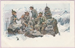 Pause Casse-Croûte De Quatre Montagnards Dans Les Alpes Suisse (Illustration Ernst Platz) (Recto-Verso) - Suisse
