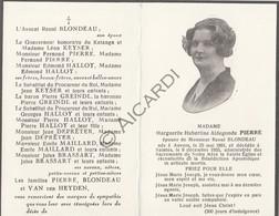 Doodsprentje Marguerite Hubertine Pierre °1891 Antwerpen †1955 Saintes -  Raoul Blondeau  (B175) - Obituary Notices