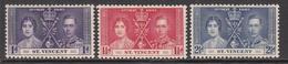 1937 St. Vincent KGVI Coronation  Complete Set Of 3 HINGED - St.Vincent (1979-...)