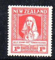 APR1089 - NEW NUOVA ZELANDA 1930 ,   Yvert  N. 186  Linguellato  * (2380A) Antitubercolosi - 1907-1947 Dominion