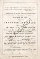 Doodsprentje Anna Maria Knaepkens °1773 Turnhout  †1859 Echtg. Philippus Van Der Poorten (B179) - Obituary Notices