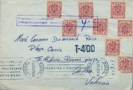 1969 , MADRID - CULLERA ( VALENCIA ) , FRANQUEO CON TIMBRES MÓVILES , TASA POR FRANQUEO INSUFICIENTE , LLEGADA - 1961-70 Briefe U. Dokumente