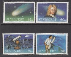 1986 St. Vincent  Halley's Comet Astronomy  Telescope  Complete Set Of 4  MNH - St.Vincent (1979-...)