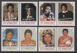1986 St. Vincent  GENUINE Michael Jackson Bought From Post Office Complete Set Of 8  MNH - St.Vincent (1979-...)