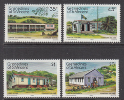 1984 St. Vincent  Grenadines Canoun Island Education School Post Office Church Complete Set Of 4  MNH - St.Vincent & Grenadines