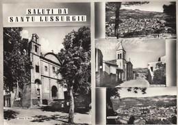 SANTU LUSSURGIU-ORISTANO-SALUTI MULTIVEDUTE(4 IMMAGINI)-CARTOLINA VERA FOTOGRAFIA-VIAGGIATA IL 5-9-1962 - Oristano