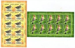 2014 Lettonia Latvia Lettland Bird / Birds Rot Book  2 Mini Sheets MNH - Latvia